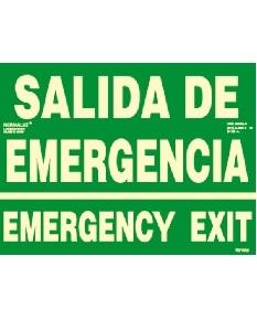 Señal Salida de emergencia español/ingles Fotoluminiscente