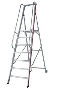 Escalera plataforma con barandilla segureco for Escaleras con plataforma precios